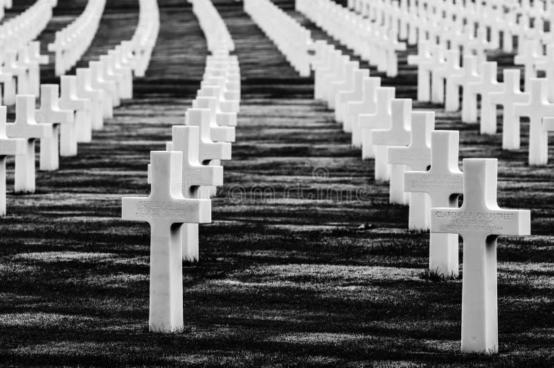 Cimetière de la deuxième guerre mondiale d'Américain image stock