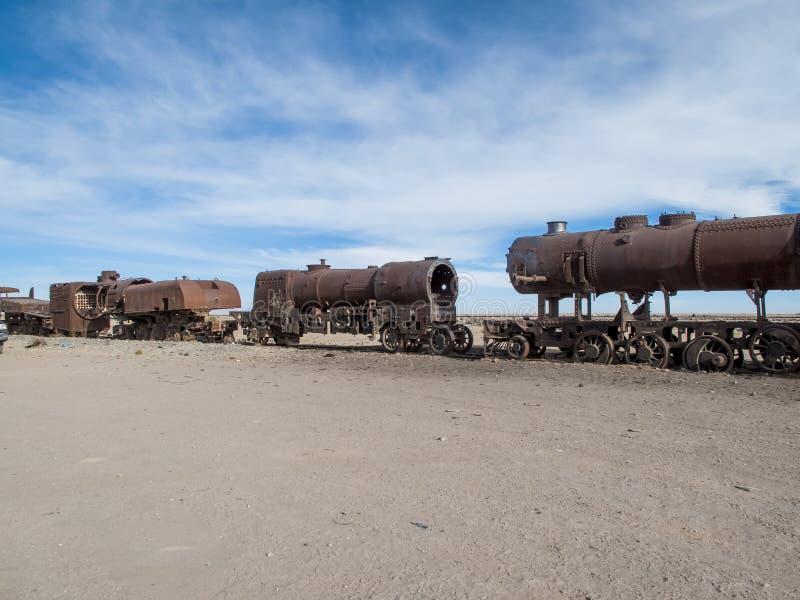 Cimetière de train en Bolivie images libres de droits