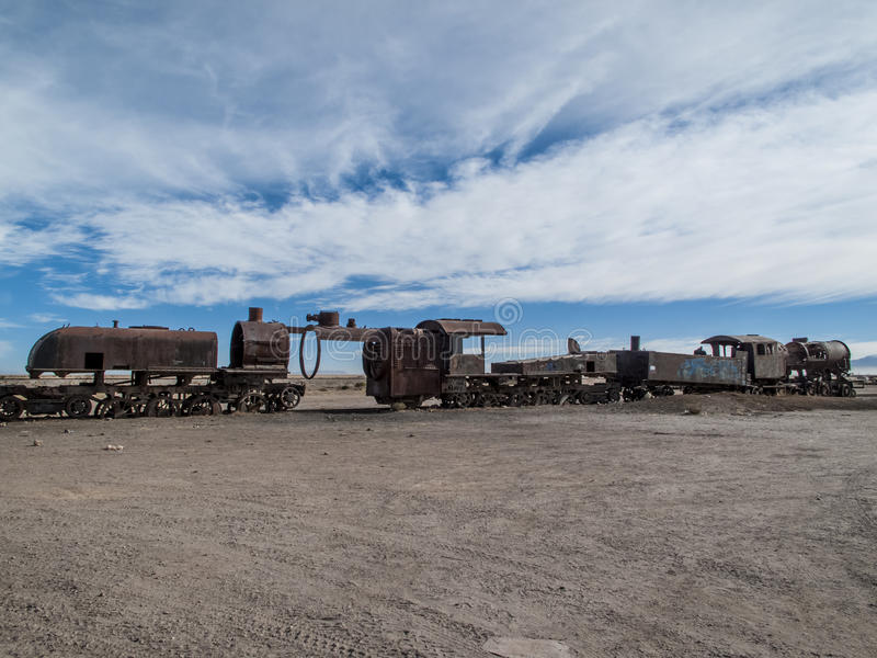 Cimetière de train en Bolivie photo libre de droits