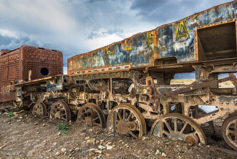 Cimetière de train, Uyuni, Bolivie photos libres de droits