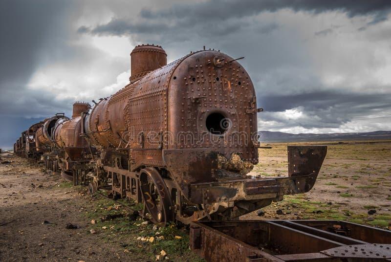 Cimetière de train, Uyuni, Bolivie photo libre de droits