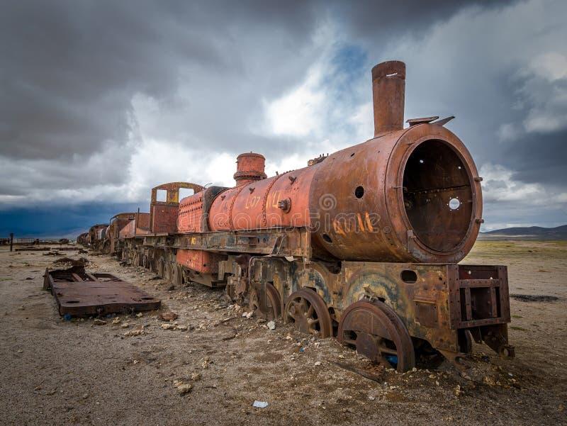 Cimetière de train, Uyuni, Bolivie photo stock