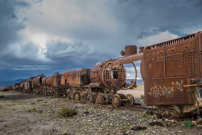 Cimetière de train, Uyuni, Bolivie image libre de droits