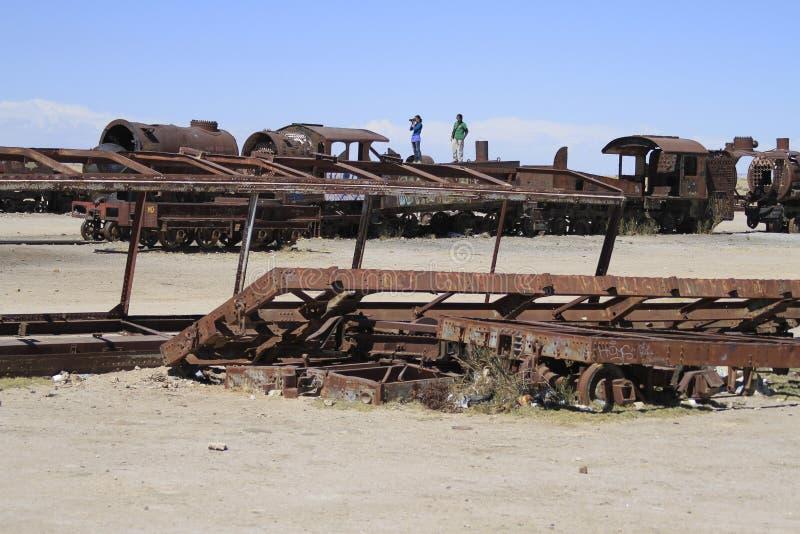 Cimetière de train, Uyuni Bolivie images libres de droits