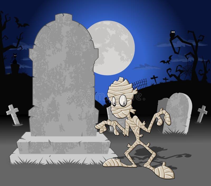 Cimetière de Veille de la toussaint avec la momie illustration de vecteur