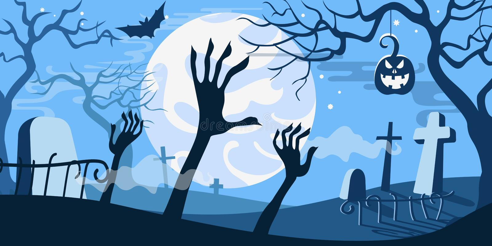 Download Cimetière Effrayant De Calibre De Concept D'illustration De Vecteur De Halloween Illustration de Vecteur - Illustration du milieux, copie: 45354570