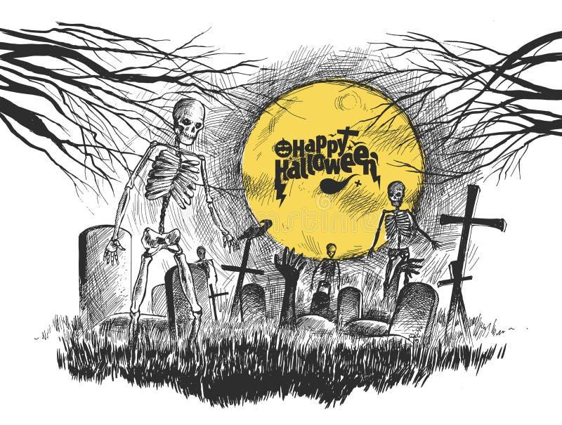 Cimetière effrayant - fond blanc de Halloween, croquis tiré par la main illustration de vecteur