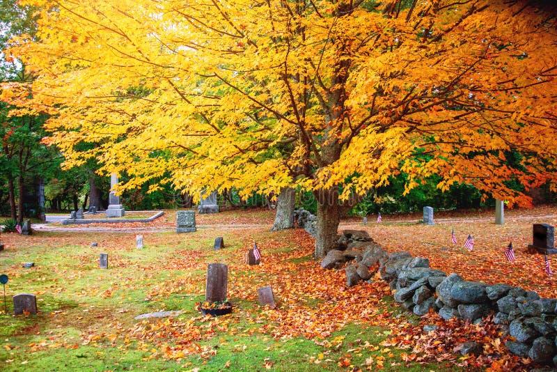 Cimetière et feuilles colorées en automne image libre de droits