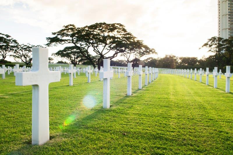 Cimetière et mémorial américains de Manille avec la belle lumière du jour photos stock