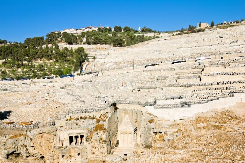 Cimetière juif antique sur le support des olives photographie stock