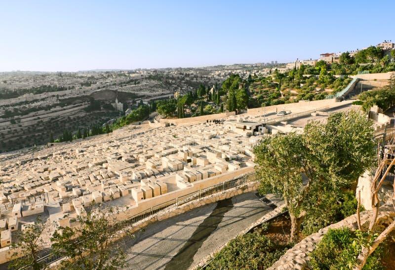 Cimetière juif antique sur le support des olives image libre de droits