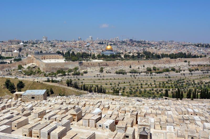 Cimetière juif du mont des Oliviers à Jérusalem - en Israël images stock