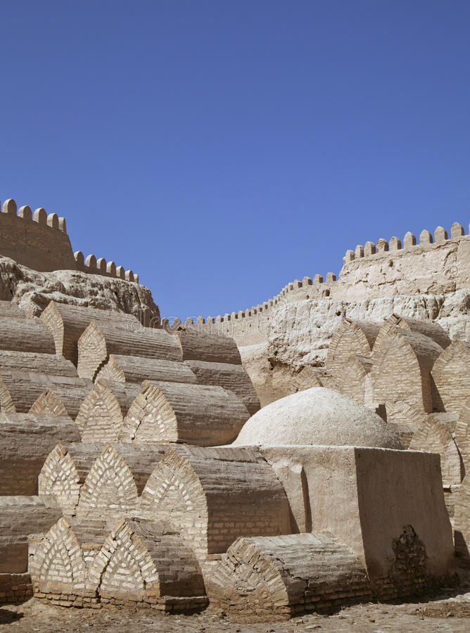 Cimetière médiéval dans Khiva images libres de droits