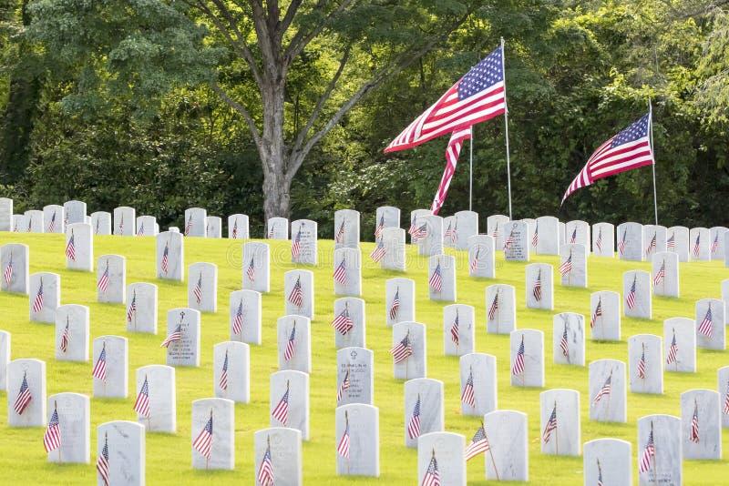 Cimetière militaire avec les drapeaux américains photographie stock libre de droits