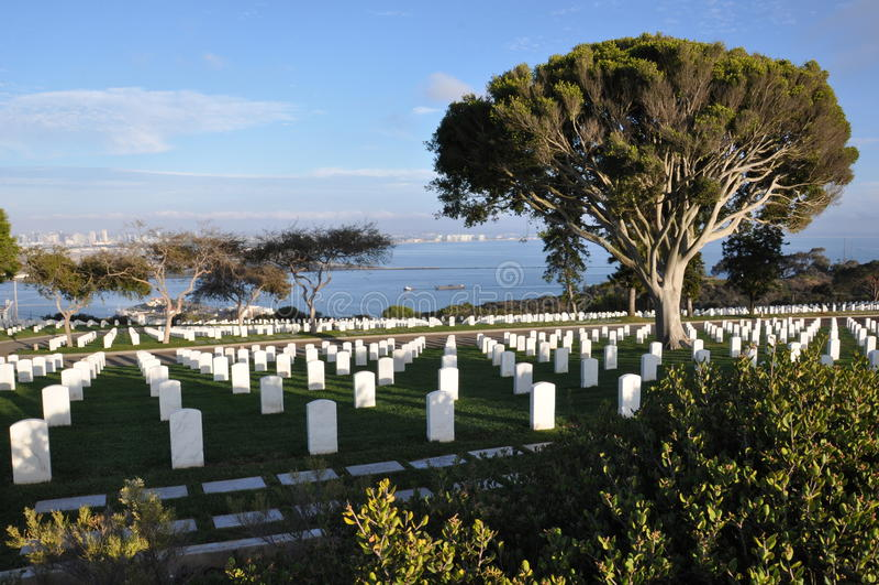 Cimetière militaire des Etats-Unis à San Diego, la Californie image stock