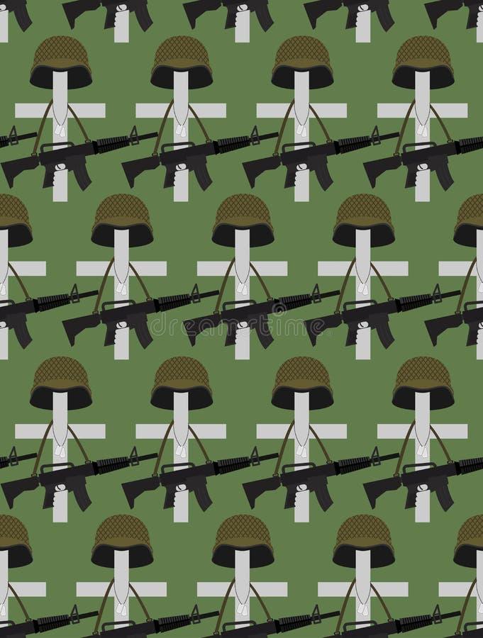 Cimetière militaire Fond de vecteur de Memorial Day Croise des WI illustration stock