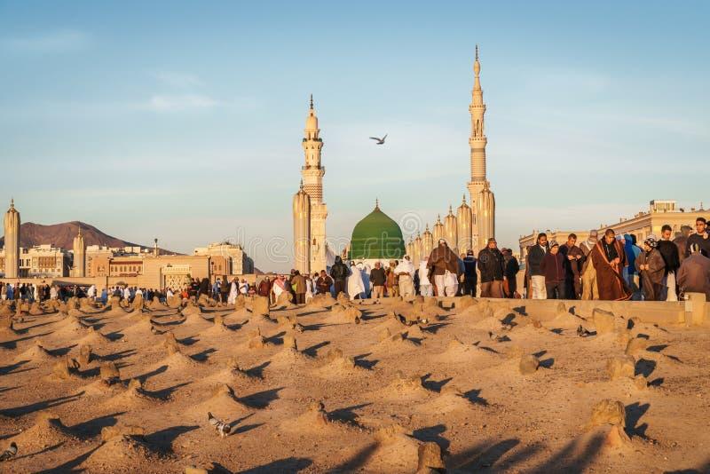 Cimetière musulman à la mosquée de Nabawi dans Madinah photos stock