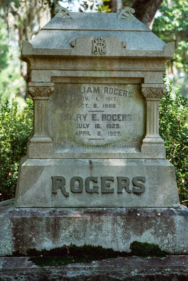 Cimetière Savannah Georgia de Rogers Cemetery Statuary Statue Bonaventure image stock