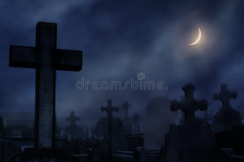 cimitero alla notte con luce della luna fotografia stock
