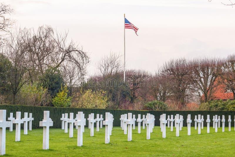 Cimitero americano Waregem Belgio del campo delle Fiandre immagini stock libere da diritti