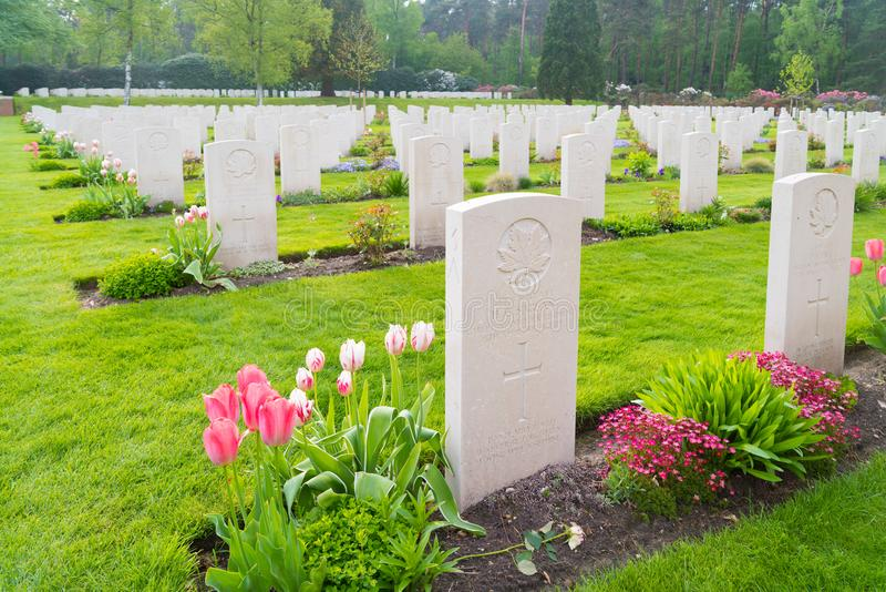 Cimitero canadese di guerra di Holten fotografia stock libera da diritti