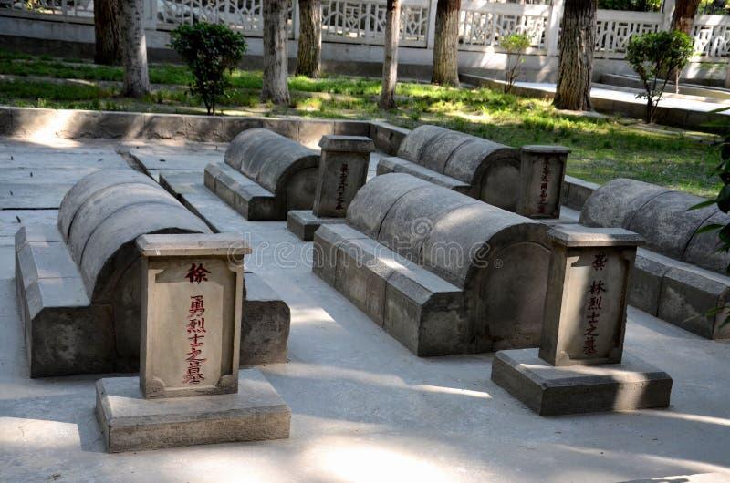 Cimitero cinese o la Cina Yadgar con le tombe e le tombe dei soldati cinesi e dei lavoratori sulla strada principale Gilgit Pakis fotografia stock libera da diritti