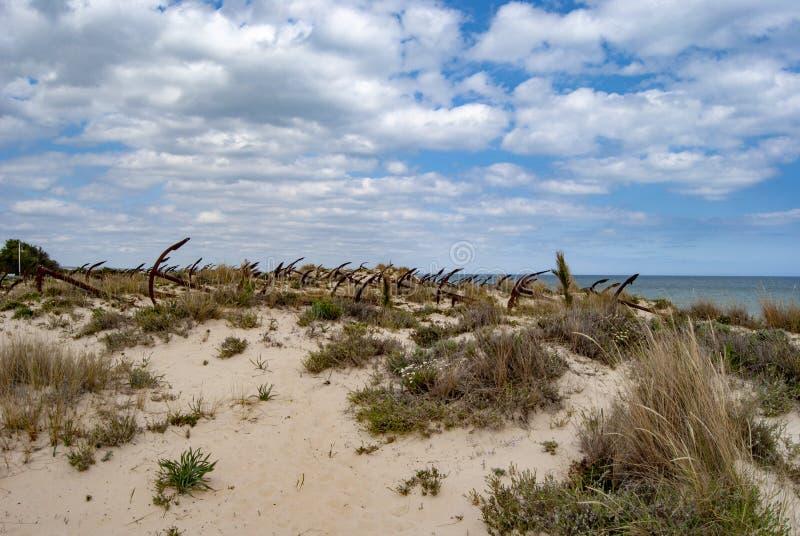 Cimitero delle ancore alla spiaggia di Barril, Algarve, Portogallo fotografia stock