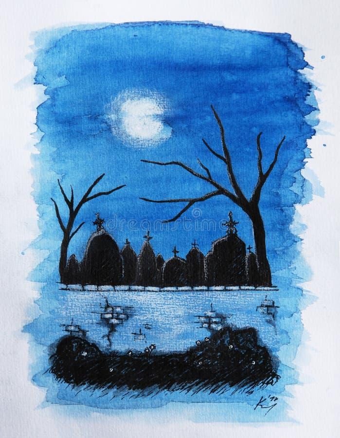 Cimitero di notte royalty illustrazione gratis