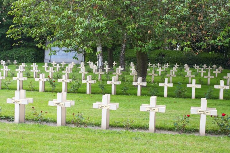 Cimitero francese dalla prima guerra mondiale in Fiandre Belgio fotografia stock libera da diritti