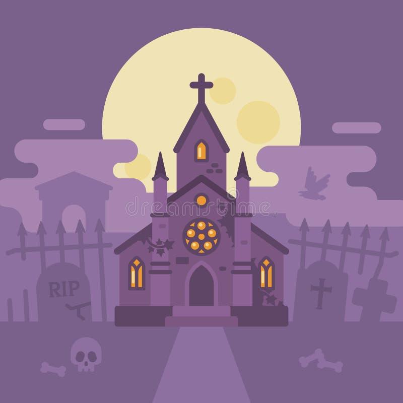 Cimitero gotico con una cappella frequentata Cimitero di Halloween illustrazione vettoriale