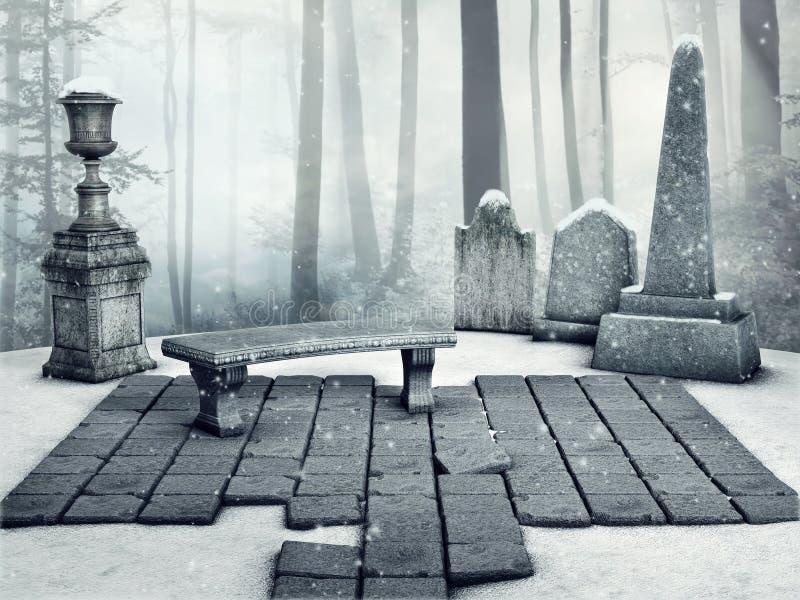 Cimitero gotico nell'inverno royalty illustrazione gratis