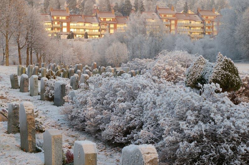 Download Cimitero in inverno fotografia stock. Immagine di headstone - 3891144