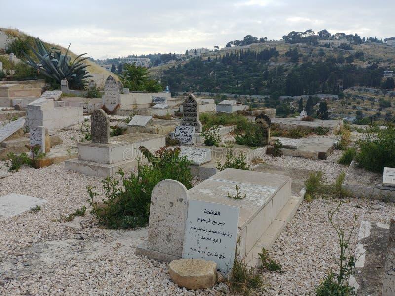 Cimitero musulmano a Gerusalemme fotografia stock