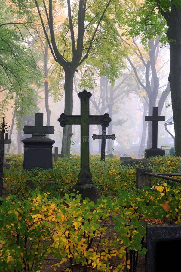Cimitero in nebbia in autunno fotografie stock libere da diritti