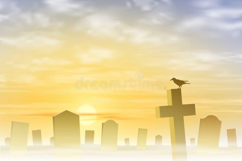 Cimitero nebbioso illustrazione vettoriale