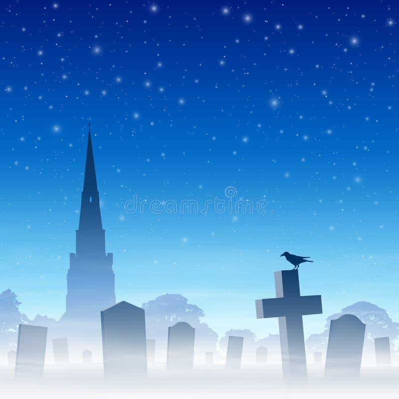 Cimitero nebbioso illustrazione di stock