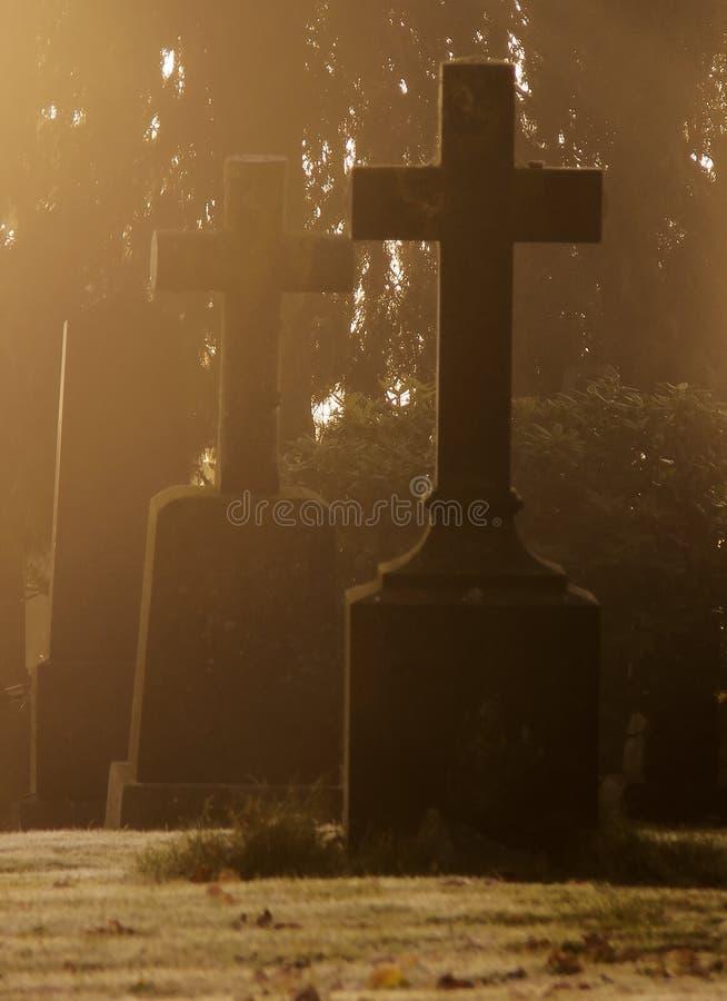 Cimitero nebbioso a Halloween fotografia stock
