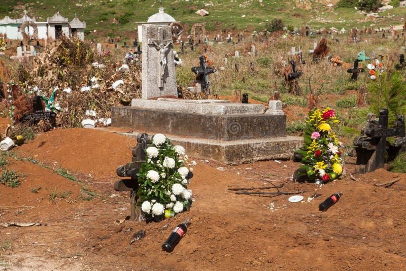 Cimitero in San Juan Chamula, il Chiapas, Messico fotografie stock libere da diritti
