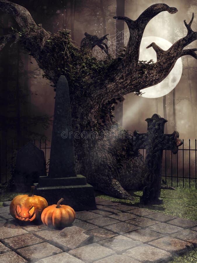 Cimitero scuro con le zucche royalty illustrazione gratis