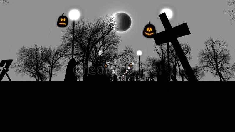 Cimitero sinistro con le tombe rovinate su Halloween royalty illustrazione gratis