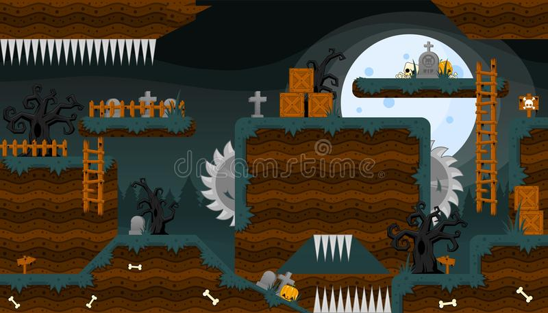 Cimitero spaventoso Platformer Tileset royalty illustrazione gratis
