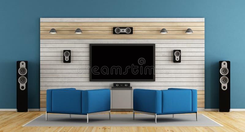 Cinéma à la maison bleu illustration libre de droits