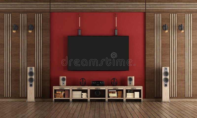 Cinéma à la maison dans le style classique illustration stock