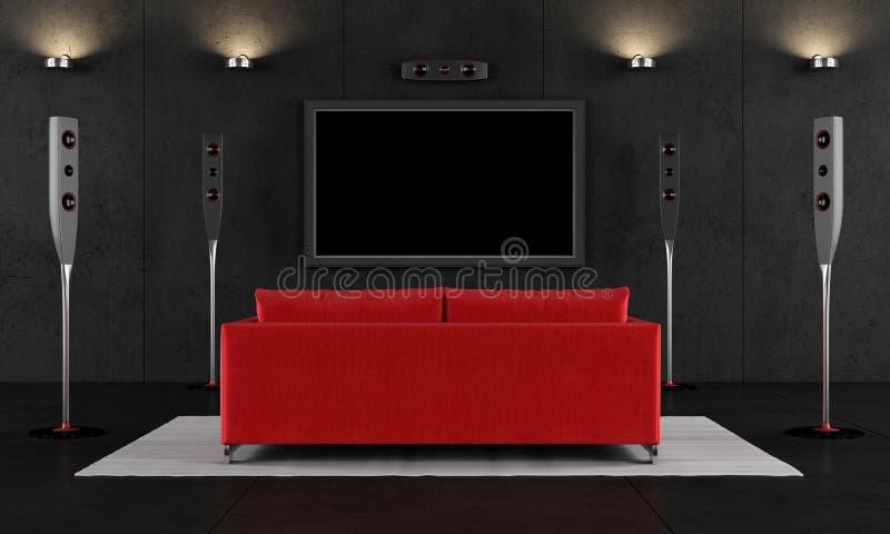 Cinéma à la maison rouge et noir illustration libre de droits