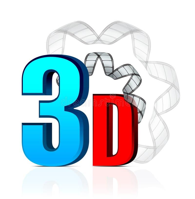 cinéma 3D avec la bande de film illustration libre de droits