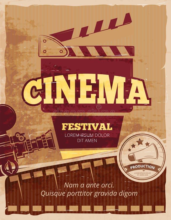 Cinéma, affiche de vintage de vecteur de festival de film illustration de vecteur