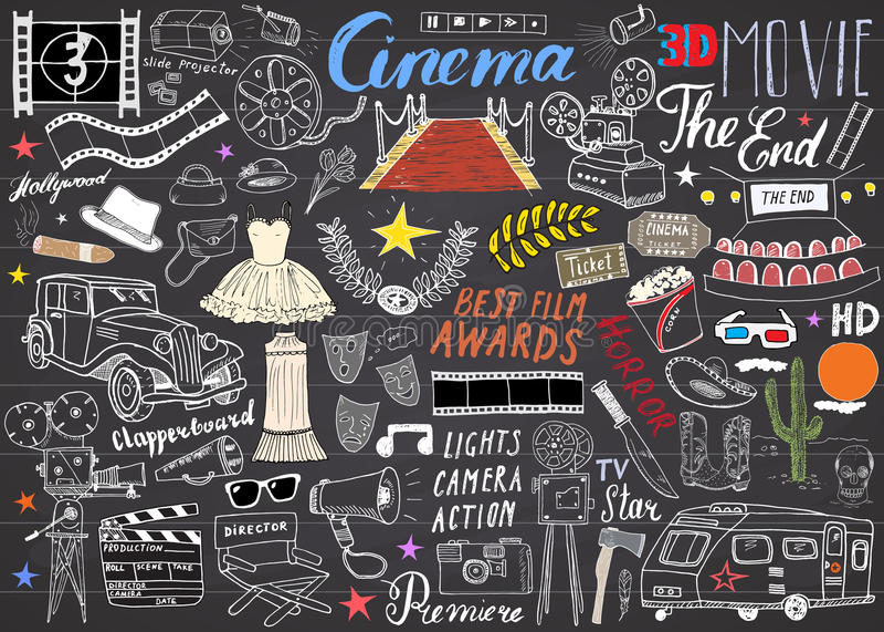 Cinéma et ensemble d'industrie cinématographique Croquis tiré par la main, illustration de vecteur sur le tableau illustration stock