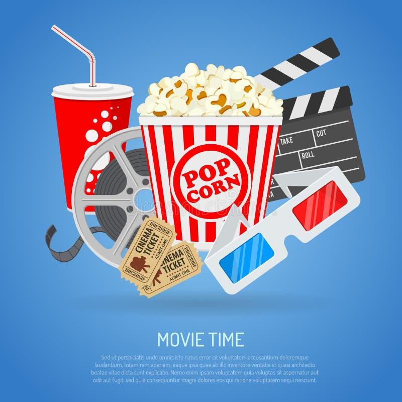 Cinéma et heure de projection du film illustration libre de droits