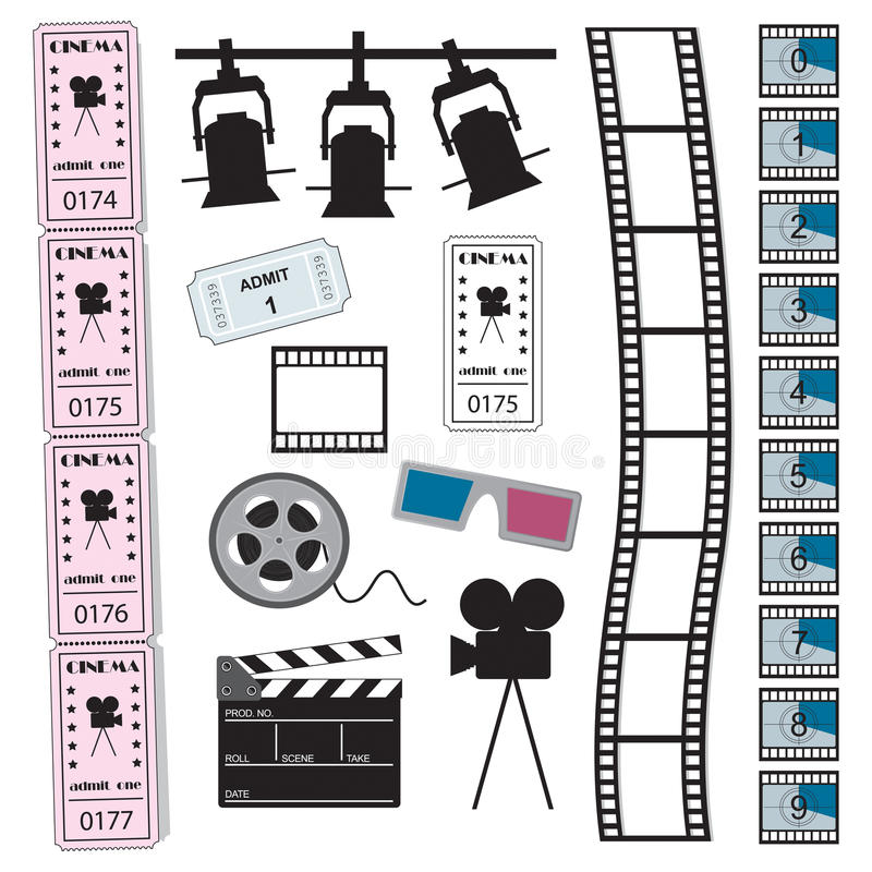 Cinéma, film et billets illustration libre de droits