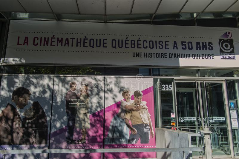 The Cinémathèque québécoise Montreal. The Cinémathèque québécoise is a film conservatory in Montreal, Quebec, Canada. Its purpose is to royalty free stock image